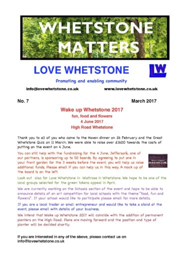 Whetstone Matters Newsletter No 7